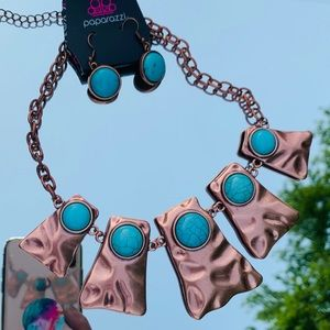 Copper & Turquoise Necklace & Earring Set